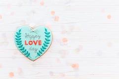greeting lycklig s valentin för kortdag lycklig förälskelsedagtext på kock Royaltyfri Bild