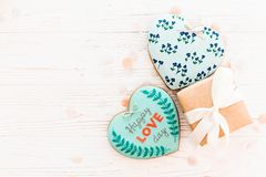 greeting lycklig s valentin för kortdag lycklig förälskelsedagtext på kock Fotografering för Bildbyråer