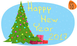 greeting lyckligt nytt år för 2007 kort Nytt år 2017 illustrationbildjulgran Arkivbilder