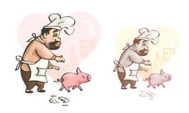 greeting lyckligt nytt år för 2007 kort Rolig konst av kocken med svinet royaltyfri illustrationer