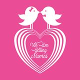 We are greeting married couple birds and heart. Vector illustration eps 10 royalty free illustration