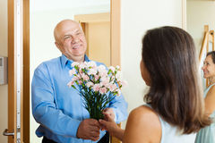 Greeting of  mature couple Stock Photography