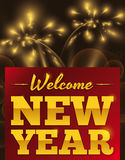 Greeting Message Celebrating New Year with Fireworks, Vector Illustration. Poster with greeting message welcoming the New Year with fireworks and sparkles in the Royalty Free Stock Photography