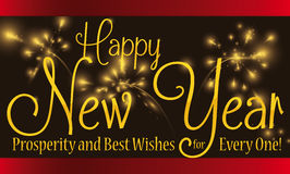 Greeting Message for New Year with Fireworks in the Background, Vector Illustration Royalty Free Stock Images