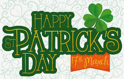 Greeting Message for St. Patrick`s Day, Ribbon and Clovers, Vector Illustration Stock Images