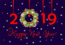 Greeting navy blue card with hanging paper cutting red numbers, paper wreath and cut out snowflakes for New year 2019. Greeting navy blue applique card with stock illustration