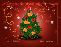 Greeting the new year. Greeting card with a Christmas tree Royalty Free Stock Photo