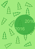 Greeting new year card 2016 with christmas trees. Illustration of the Happy halloween and ghost Royalty Free Stock Images