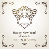 Greeting New Year card with monkey - symbol of the. Greeting card with monkey - symbol of the New Year 2016 Stock Photos