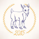 Greeting New year card. With the symbol of 2015 - cute goat Stock Photo