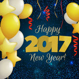 Greeting New Year 2017 dark blue background. Happy New Year 2017 greeting card. Festive illustration with balloons, confetti and sparkles on dark blue background Royalty Free Stock Image