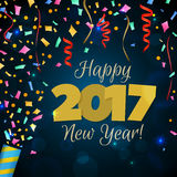 Greeting New Year 2017 dark blue background Royalty Free Stock Photo