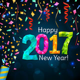 Greeting New Year 2017 dark blue background Royalty Free Stock Photography