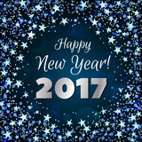 Greeting New Year 2017 dark blue background. Happy New Year 2017 greeting card. Festive illustration with sparkles, stars and confetti on dark blue background Royalty Free Stock Image