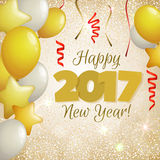 Greeting New Year 2017 golden background. Happy New Year 2017 greeting card. Festive illustration with balloons, confetti and sparkles on golden background Royalty Free Stock Photo