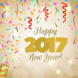Greeting New Year 2017 golden background Royalty Free Stock Image