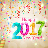Greeting New Year 2017 golden background Royalty Free Stock Photography
