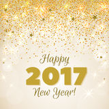 Greeting New Year 2017 golden background. Happy New Year 2017 greeting card. Festive illustration with flare, glitter and snow on golden background. Vector Royalty Free Stock Photos