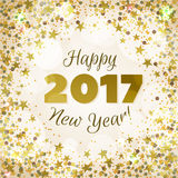Greeting New Year 2017 golden background. Happy New Year 2017 greeting card. Festive illustration with sparkles, stars and confetti on golden background. Vector Stock Photo