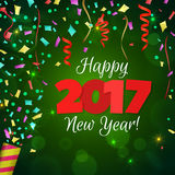 Greeting New Year 2017 green background Stock Photo