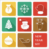 Greeting New Year Icon Set Stock Photo