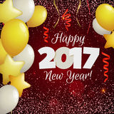 Greeting New Year 2017 red background. Happy New Year 2017 greeting card. Festive illustration with balloons, confetti and sparkles on red background. Vector Stock Photos