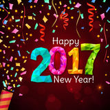 Greeting New Year 2017 red background Stock Image