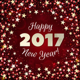 Greeting New Year 2017 red background. Happy New Year 2017 greeting card. Festive illustration with sparkles, stars and confetti on red background. Vector Royalty Free Stock Photo