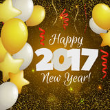 Greeting New Year 2017 yellow background. Happy New Year 2017 greeting card. Festive illustration with balloons, confetti and sparkles on yellow background Stock Photography