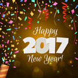 Greeting New Year 2017 yellow background Stock Images