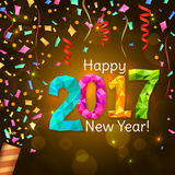Greeting New Year 2017 yellow background Stock Image