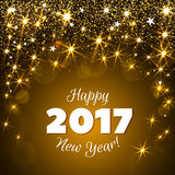 Greeting New Year 2017 yellow background. Happy New Year 2017 greeting card. Festive illustration with flare, glitter and snow on yellow background. Vector Royalty Free Stock Image