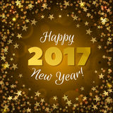 Greeting New Year 2017 yellow background. Happy New Year 2017 greeting card. Festive illustration with sparkles, stars and confetti on yellow background. Vector Royalty Free Stock Images