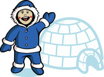 Greeting from north pole. Kid with igloo house background Royalty Free Stock Image