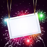 Greeting Notice with Fireworks Royalty Free Stock Images