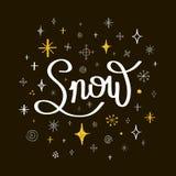 greeting nytt år för kort Märka snö med snöflingor på en svart Royaltyfria Foton