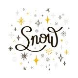 greeting nytt år för kort Märka snö med snöflingor på en vit Royaltyfri Bild