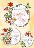 Greeting oval labels with Hohloma floral ornament Royalty Free Stock Photography