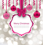 Greeting Paper Card with Bow Ribbon and Christmas Stock Photos