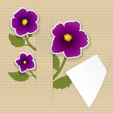 Greeting paper card with flower and paper Royalty Free Stock Photo