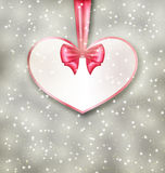 Greeting paper card made of heart shape Valentine Day Stock Photo