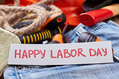Greeting paper on Labor Day. Stock Photos