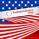Greeting patriotic card with the flag of America. US Independence Day, July 4. Abstract background with special objects. Vector illustration Stock Photo
