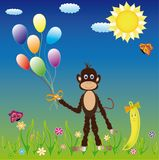 Greeting picture with monkey Royalty Free Stock Image