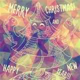 Greeting polygonal card: Merry Christmas and New Year. Christmas greeting card: Merry Christmas and Happy New Year. Christmas tree in childish doodles style Stock Photos