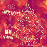Greeting polygonal card: Merry Christmas and New Year. Christmas greeting card: Merry Christmas and Happy New Year. Christmas tree in childish doodles style Royalty Free Stock Photos