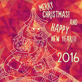 Greeting polygonal card: Merry Christmas and New Year. Christmas greeting card: Merry Christmas and Happy New Year. Christmas tree in childish doodles style Royalty Free Stock Photography