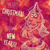 Greeting polygonal card: Merry Christmas and New Year. Christmas greeting card: Merry Christmas and Happy New Year. Christmas tree in childish doodles style Royalty Free Stock Images