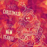 Greeting polygonal card: Merry Christmas and New Year. Christmas greeting card: Merry Christmas and Happy New Year. Christmas tree in childish doodles style Royalty Free Stock Image
