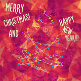 Greeting polygonal card: Merry Christmas and New Year. Christmas greeting card: Merry Christmas and Happy New Year. Christmas tree in childish doodles style Stock Photo